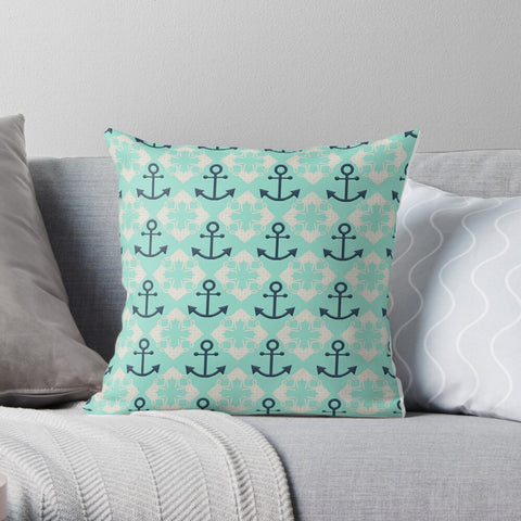 Nautical Knots and Anchors Design on Beach Glass Premium Hypoallergenic Throw Pillow