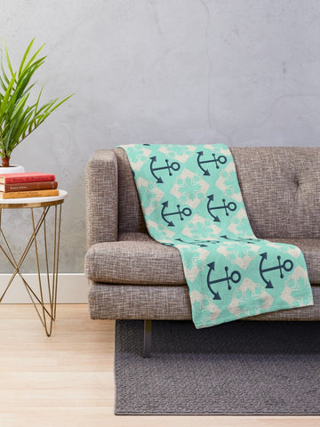 Nautical Knots and Anchors Design on Beach Glass Minky Blankets