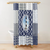 Nautical Quilt Pattern Design in Navy and Grey With Lighthouse - Minky Blankets