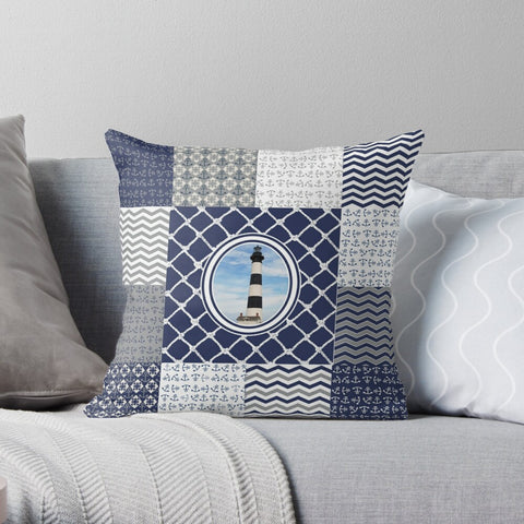 Nautical Quilt Pattern Design in Navy and Grey- Style 3 Premium Hypoallergenic Throw Pillow