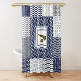 Nautical Quilt Pattern Design in Navy and Grey - Shower Curtain