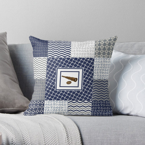 Nautical Quilt Pattern Design in Navy and Grey Premium Hypoallergenic Throw Pillow