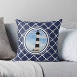 Nautical Bodie Lighthouse on Blue Depth (Navy) Design Premium Hypoallergenic Throw Pillow