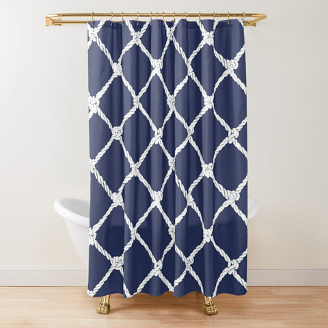 Nautical Rope in White on Blue Depth Design Textured Fabric Shower Curtain