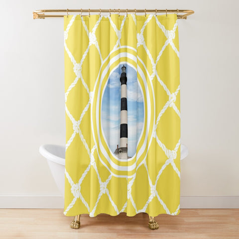 Nautical Bodie Lighthouse on Illuminating Yellow Design- Textured Fabric Shower Curtain