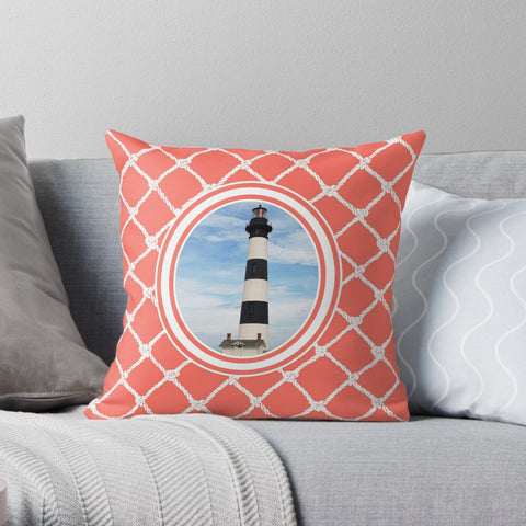 Nautical Bodie Lighthouse on Living Coral Design Premium Hypoallergenic Throw Pillow