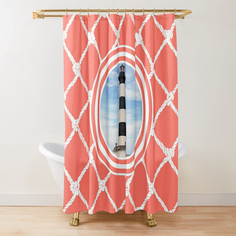 Nautical Lighthouse on Living Coral Design Textured Fabric Shower Curtain