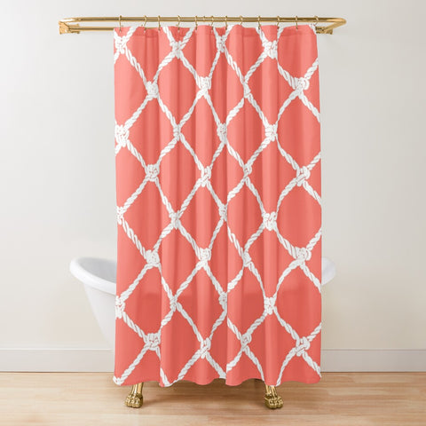 Nautical Rope in White on Living Coral Design Textured Fabric Shower Curtain