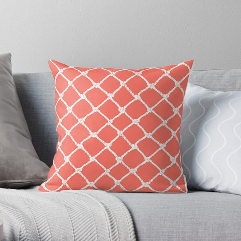 Nautical Rope in White on Living Coral Design Premium Hypoallergenic Throw Pillow