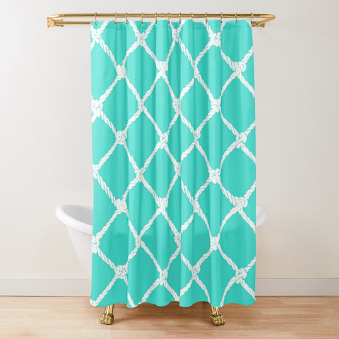 Nautical Rope in White on Turquoise Design Textured Fabric Shower Curtain