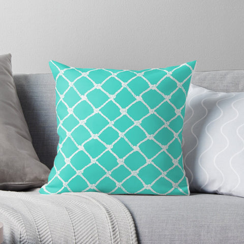 Nautical Rope in White on Turquoise Design Premium Hypoallergenic Throw Pillow