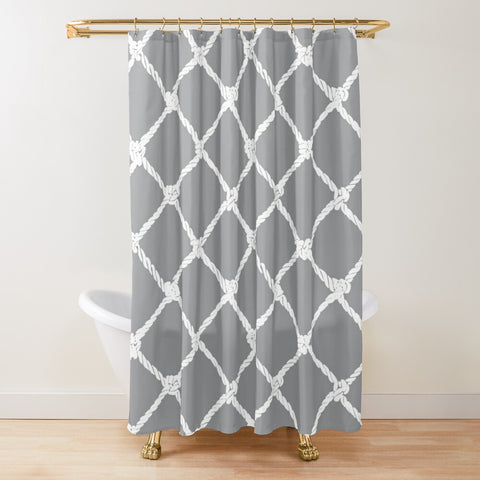 Nautical Rope in White on Ultimate Gray Design Textured Fabric Shower Curtain