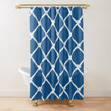 Nautical Rope in White on Classic Blue Design Textured Fabric Shower Curtain