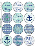Nautical Baby Boy Collection- Printable Party Tags - Cupcake Toppers - Printable Party Favors