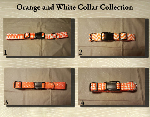 Orange and White Fabric Custom Made Dog Collar's- Choose your size