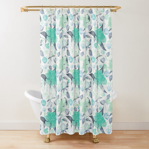 Peonies Abound in Aqua and Mint Collection - Shower Curtain