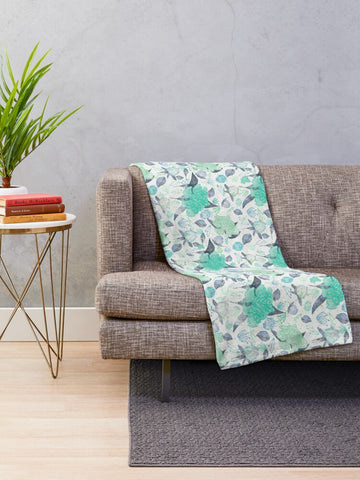 Peonies Abound in Aqua and Mint Collection - Minky Blankets
