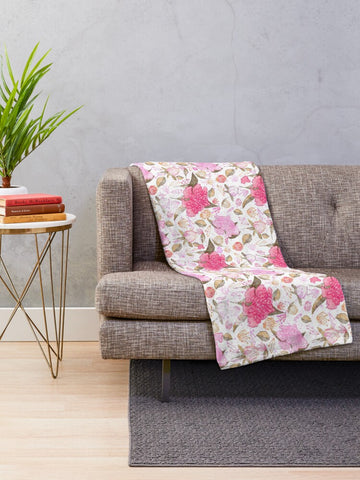 Peonies Abound Pattern in Pink Collection - Minky Blankets