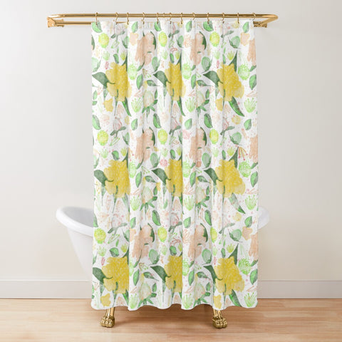 Peonies Abound Pattern in Yellow and Pastel Coral Collection -Shower Curtain