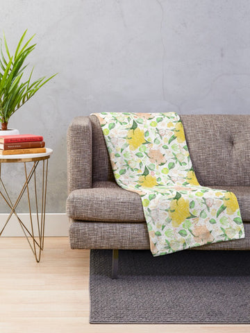 Peonies Abound in Yellow and Pastel Coral Collection - Minky Blankets