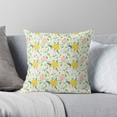 Peonies Abound Pattern in Yellow and Pastel Coral Collection - Premium Hypoallergenic Throw Pillow