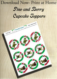 Pine and Berry Themed Holiday Toppers-Red, White, Green  Vertical Stripes - Printable  Cupcake Toppers - Printable Party Favors-Jpeg