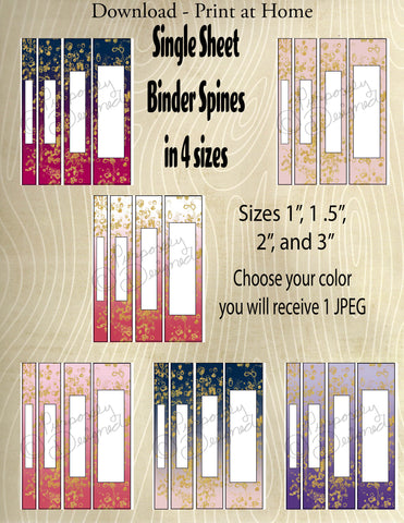 Printable Binder Spines-4 Sizes in Each Color-Pink, Blue and Purple Color Schemes -Multi-color Gradients with Gold Flakes  -Instant Download- Printable PDF**Not Editable**