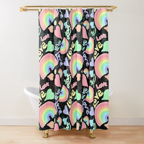 Pastel Love, Rainbows and Hearts Design on Black - Shower Curtain