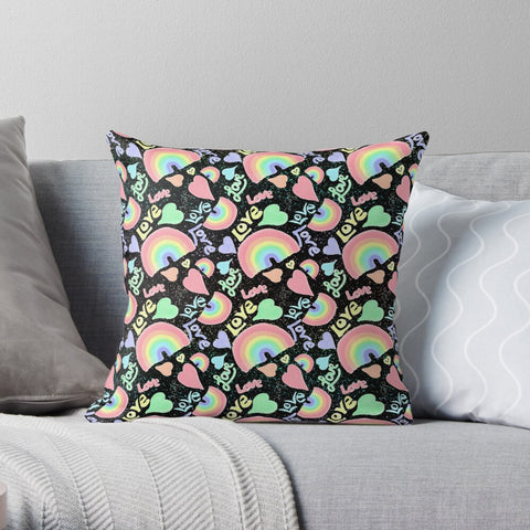 Pastel Love, Rainbows and Hearts Design on Black - Premium Hypoallergenic Throw Pillow