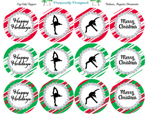 Figure Skating - Holiday/Christmas Printable  Cupcake Toppers-Stickers-Labels - Printable Party Favors