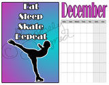 Blank Figure Skating Calendar Style 2- Instant  Download- Printable JPEG