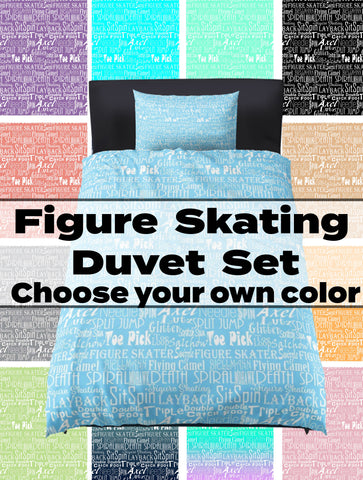 Choose Your Own Custom Color-Figure Skating Subway Style Typography Design  Duvet Cover with Pillow Sham(s)