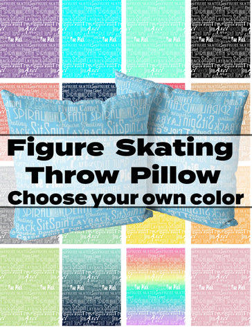 Choose Your Own Custom Color-Figure Skating Subway Style Typography Design Throw Pillows