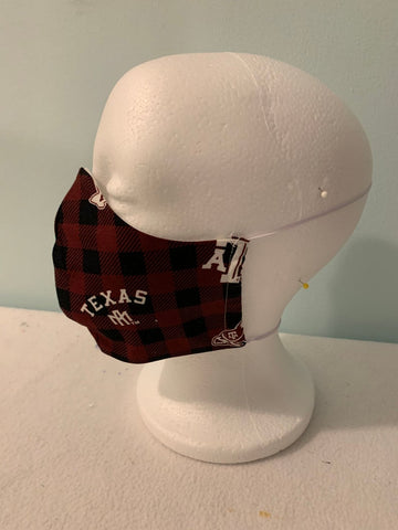 Face Masks Washable -Texas A & M Plaid Fabric -100% Quilters Cotton-Adult and Children's Sizes-Adjustable Elastic or Ear Loops Options