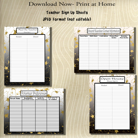 Teacher Beginning of the Year Sign-up/in Sheets-Style 2- Teacher Planning Collection-Instant Download