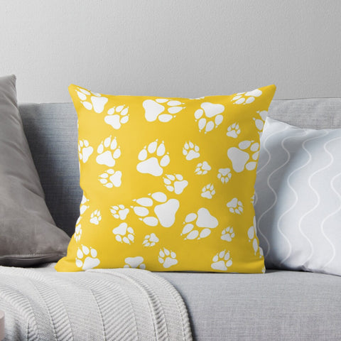 Tiger Paw Prints Pattern White on Gold-  Premium Hypoallergenic Throw Pillow