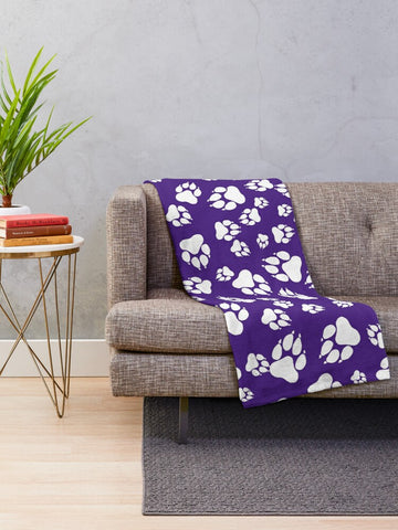 Tiger Paw Prints Pattern White on Purple - Minky Blankets