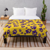 Tiger Paw Prints Pattern in Gold and Purple Digital Design-Style 2 - Minky Blankets