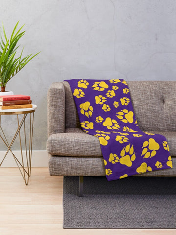 Tiger Paw Prints Pattern Gold on Purple - Minky Blankets