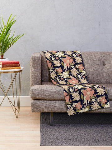 Tropical Floral Print in Blush and Cream on Deep Navy Minky Blankets