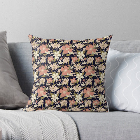 Tropical Floral Print in Blush and Cream on Deep Navy Premium Hypoallergenic Throw Pillow
