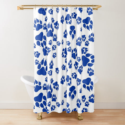 Wildcats Paw Print Pattern Blue on White -  Shower Curtain