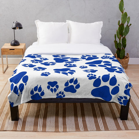 Wildcats Paw Print Pattern Blue on White -  Minky Blankets