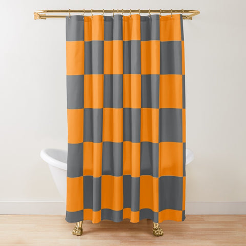 Tennessee Orange and Smokey Grey Checker Pattern Textured Fabric Shower Curtain