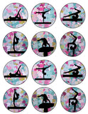 Gymnastics Silhouette Printable Party Tags - Cupcake Toppers - Printable Party Favors