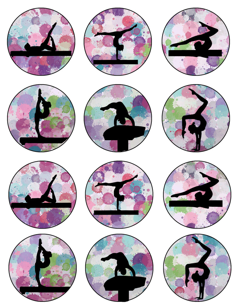 Gymnastics Silhouette Printable Party Tags Cupcake