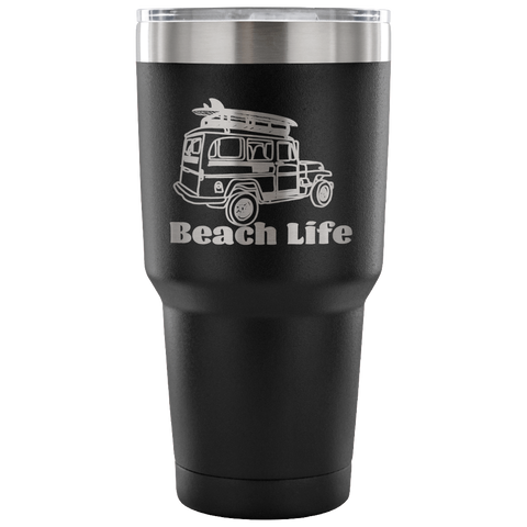Vintage Beach Life-Etched Tumbler -30 ounces Variety of Colors Available