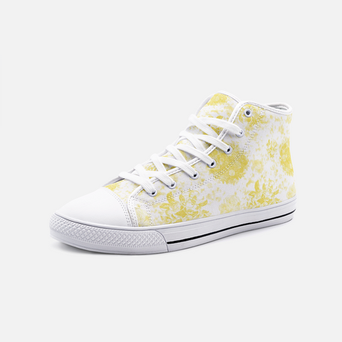 Roses in Illuminating Yellow on White Design Hi-Top Canvas Shoes