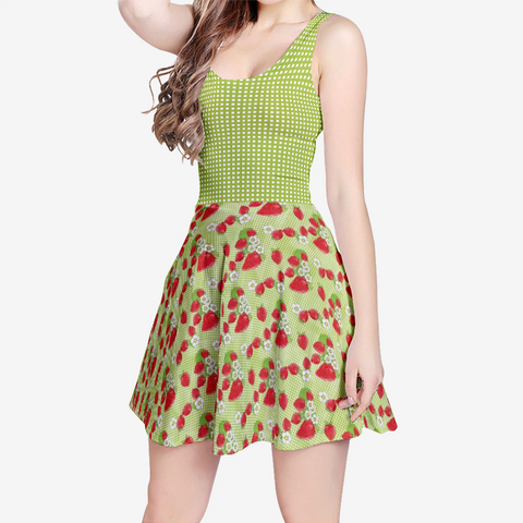 Strawberry Patch in Green Plaid Style 2 - Women's Sleeveless Midi Casual Flared Skater Dress
