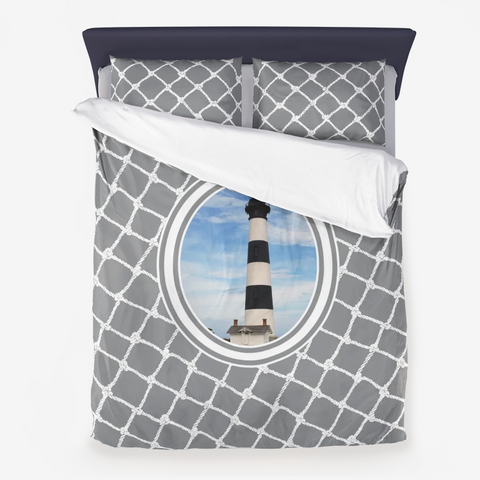 Nautical Bodie Lighthouse on Ultimate Gray Design  Microfiber Duvet Cover with Pillow Sham(s)